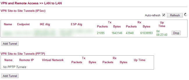 LAN to LAN profile overview draytek 2130
