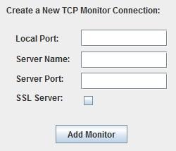 TCPMon Configuratie Velden