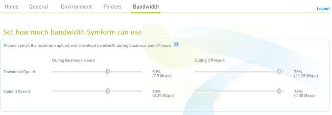 Symform Configuration Bandwidth