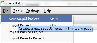 File - Create New SoapUI Project